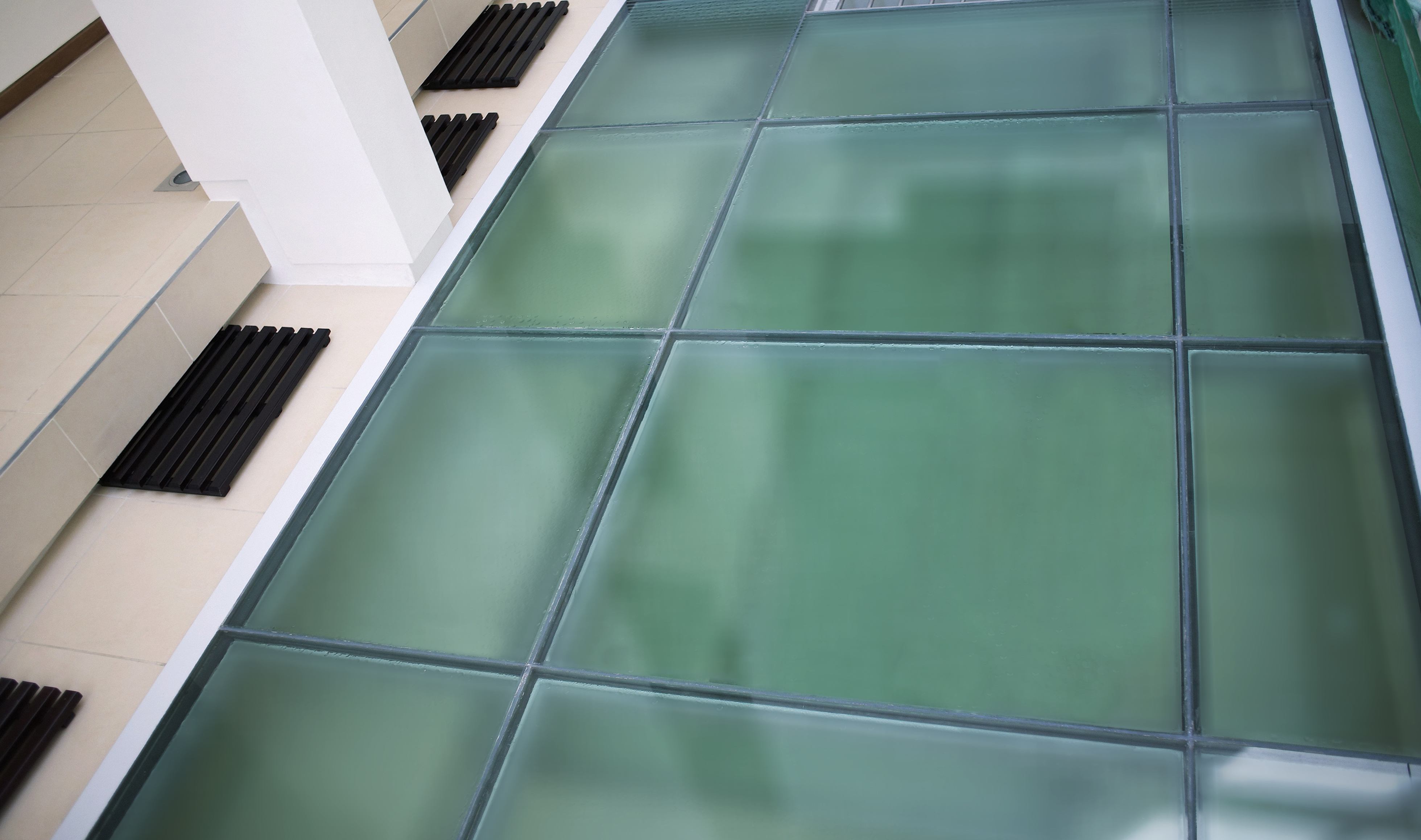 High Angle View Of A Glass Floor     Image By © Image100/Corbis