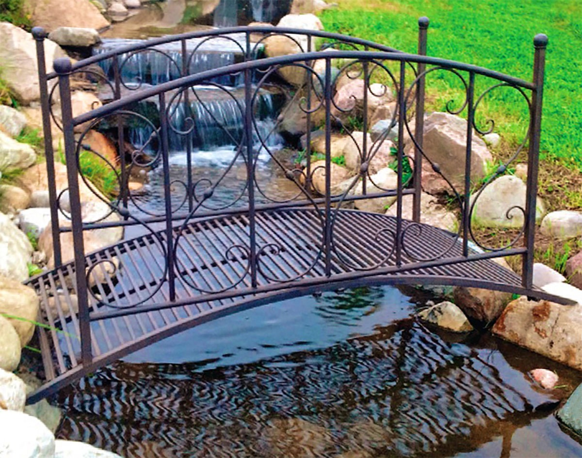 Striking Garden Bridges Design Black Color Wrought Iron